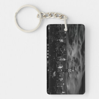 Ethereal Clouds: NYC Skyline, Empire State Bldg BW Keychain