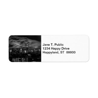 Ethereal Clouds: NYC Skyline, Empire State Bldg BW Return Address Label