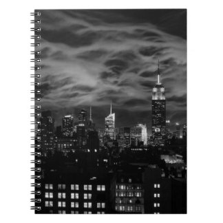 Ethereal Clouds: NYC Skyline, Empire State Bldg BW Notebooks
