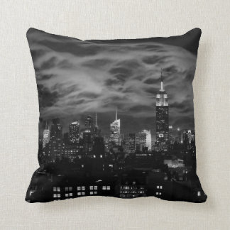 Ethereal Clouds: NYC Skyline, Empire State Bldg BW Pillow