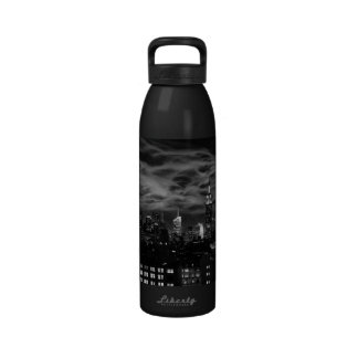 Ethereal Clouds: NYC Skyline, Empire State Bldg BW Drinking Bottles