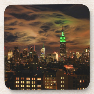 Ethereal Clouds: NYC Skyline, Empire State Bldg Beverage Coaster