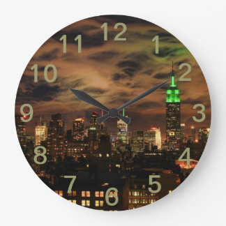 Ethereal Clouds: NYC Skyline, Empire State Bldg Large Clock