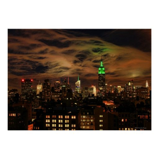Ethereal Clouds: NYC Skyline, Empire State Bldg Poster