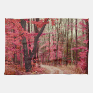 Ethereal Forest Path With Red Fall Colors Kitchen Towels