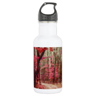 Ethereal Forest Path With Red Fall Colors Stainless Steel Water Bottle