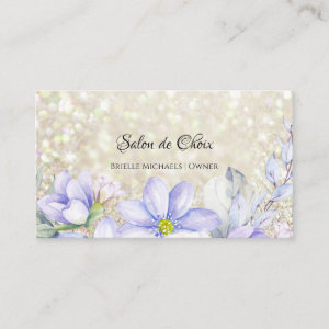 Ethereal Lavender Floral Luxury Glitter Salon Business Card