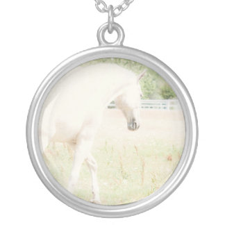 Ethereal light white Horse necklace