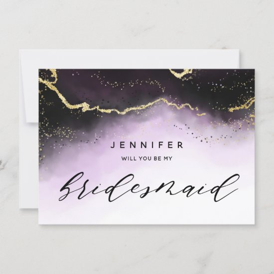 Ethereal Mist Ombre Amethyst Bridesmaid Proposal