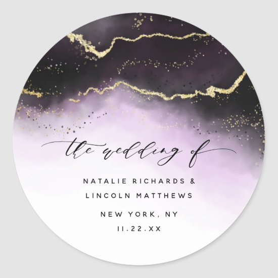 Ethereal Mist Ombre Amethyst Purple Aurora Wedding Classic Round Sticker