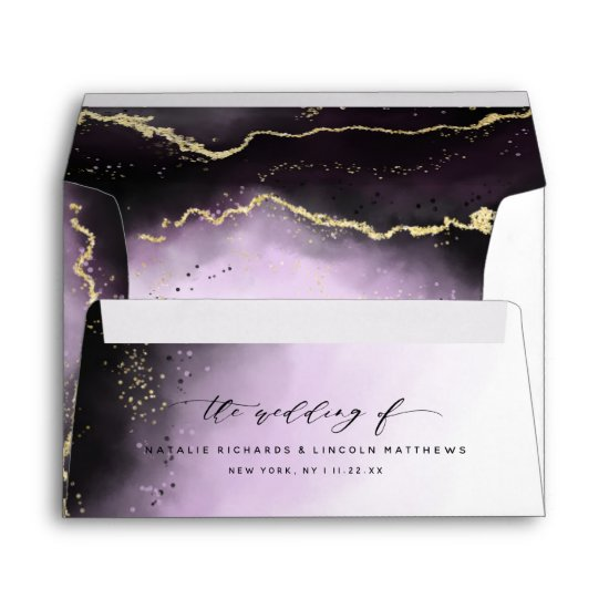 Ethereal Mist Ombre Amethyst Purple Moody Wedding Envelope