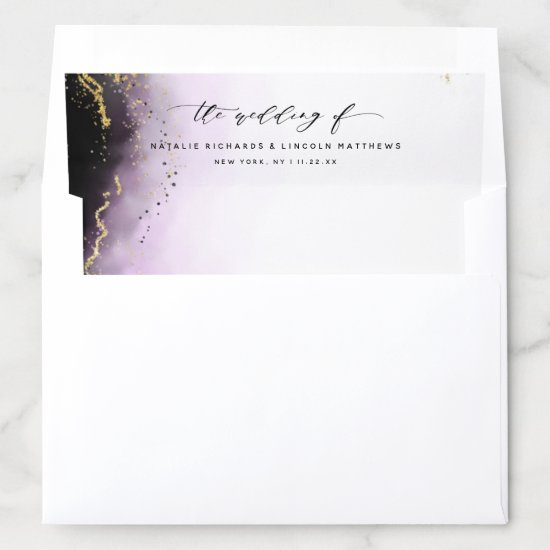 Ethereal Mist Ombre Amethyst Purple Moody Wedding Envelope Liner