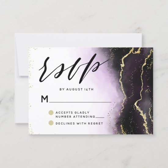 Ethereal Mist Ombre Amethyst Purple Moody Wedding RSVP Card