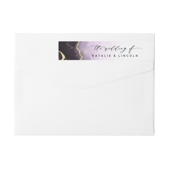 Ethereal Mist Ombre Amethyst Purple Moody Wedding Wrap Around Label