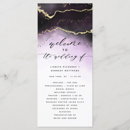 Ethereal Mist Ombre Amethyst Wedding Ceremony Program