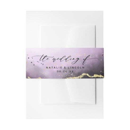 Ethereal Mist Ombre Amethyst Wedding Monogram Invitation Belly Band