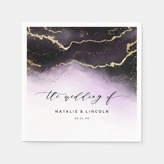 Ethereal Mist Ombre Amethyst Wedding Monogram Napkin