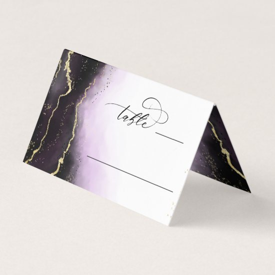 Ethereal Mist Ombre Amethyst Wedding Table Number Place Card