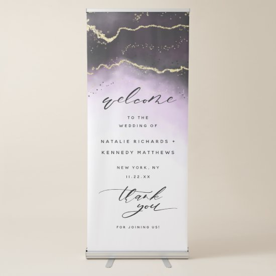 Ethereal Mist Ombre Amethyst Wedding Welcome Retractable Banner