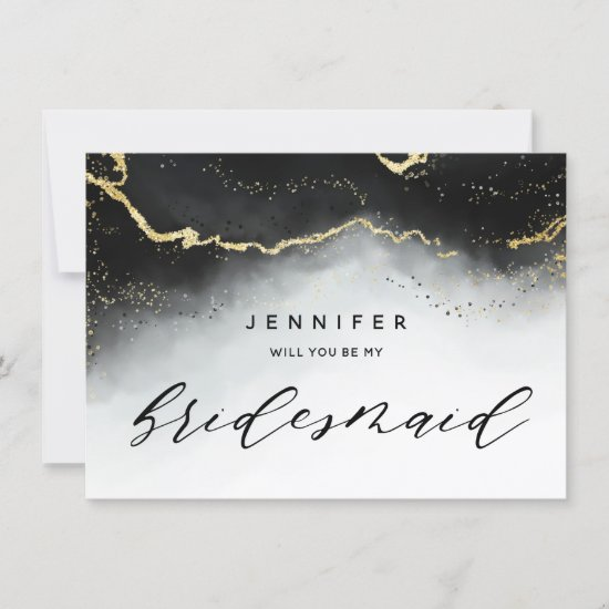 Ethereal Mist Ombre Black Gray Bridesmaid Proposal