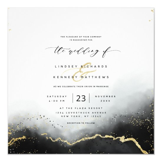 Ethereal Mist Ombre Black Luxury Square Wedding Invitation
