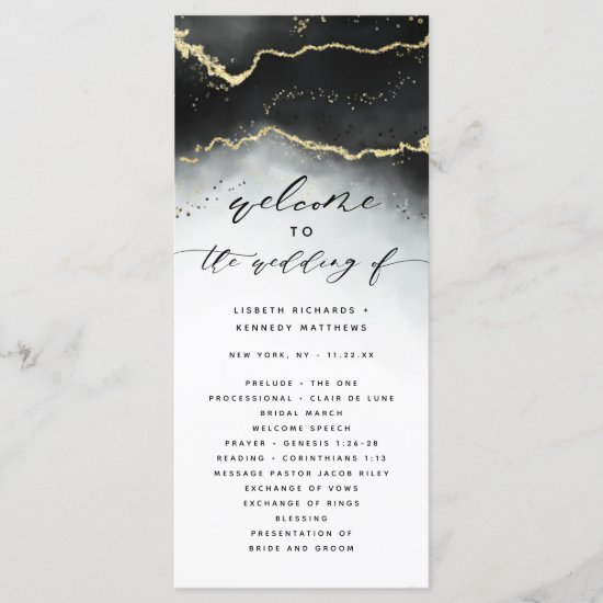 Ethereal Mist Ombre Black Moody Wedding Ceremony Program
