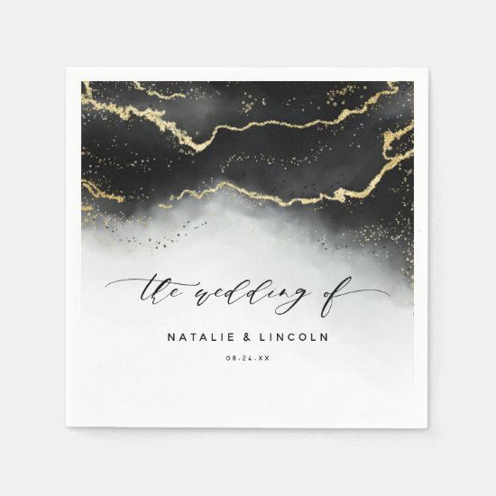 Ethereal Mist Ombre Black Moody Wedding Monogram Napkin