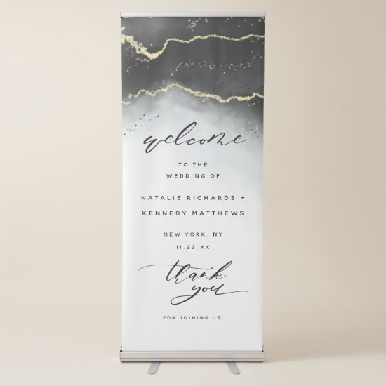 Ethereal Mist Ombre Black Moody Wedding Welcome Retractable Banner