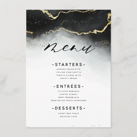Ethereal Mist Ombre Black Watercolor Moody Dinner Menu