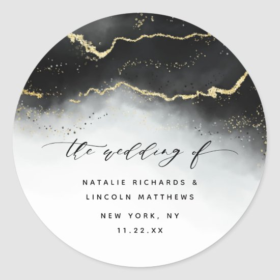 Ethereal Mist Ombre Black Watercolor Moody Wedding Classic Round Sticker