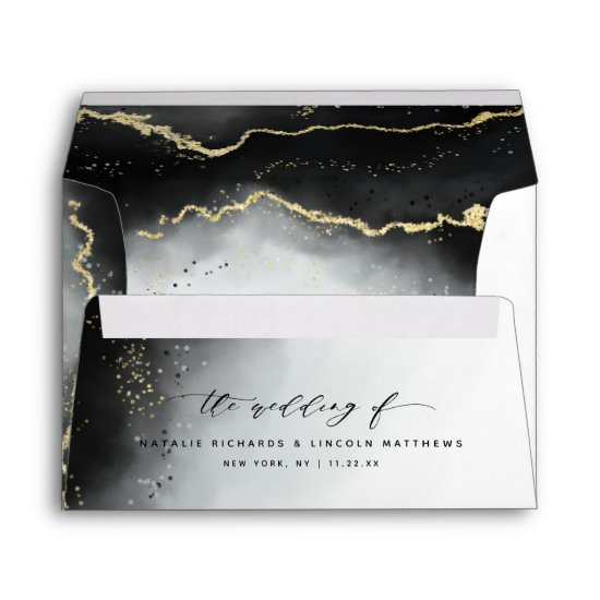 Ethereal Mist Ombre Black Watercolor Moody Wedding Envelope
