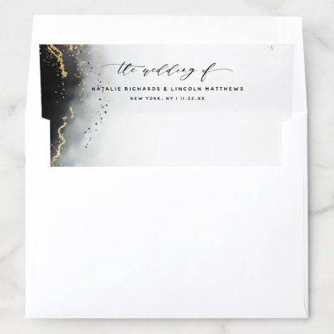 Ethereal Mist Ombre Black Watercolor Moody Wedding Envelope Liner