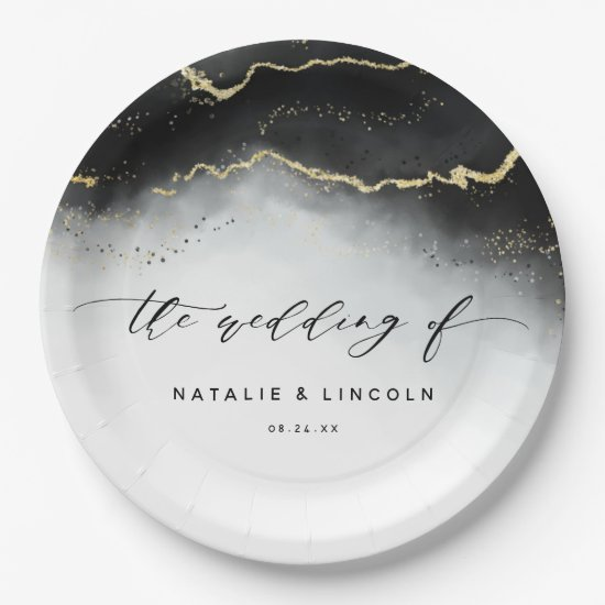 Ethereal Mist Ombre Black Watercolor Moody Wedding Paper Plate
