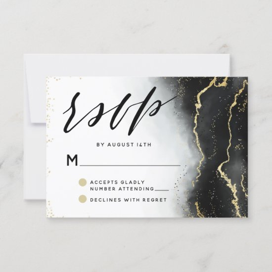Ethereal Mist Ombre Black Watercolor Moody Wedding RSVP Card