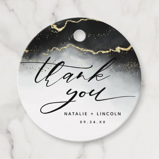 Ethereal Mist Ombre Black Watercolor Thank You Favor Tags