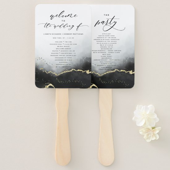 Ethereal Mist Ombre Black Wedding Ceremony Program Hand Fan
