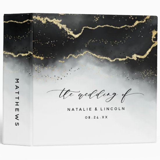 Ethereal Mist Ombre Black Wedding Photo Album 3 Ring Binder