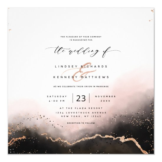 Ethereal Mist Ombre Blush Luxury Square Wedding Invitation