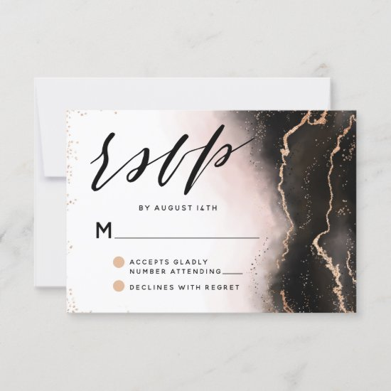 Ethereal Mist Ombre Blush Pink Edgy Moody Wedding RSVP Card