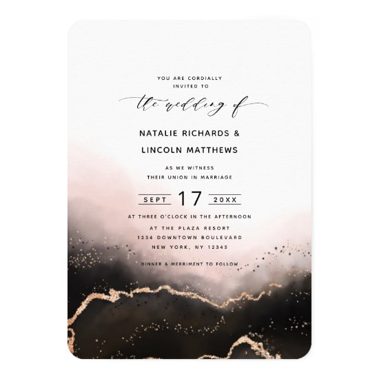 Ethereal Mist Ombre Blush Pink Foil Script Wedding Invitation