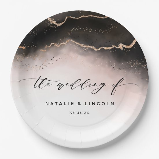 Ethereal Mist Ombre Blush Pink Gilt Moody Wedding Paper Plate