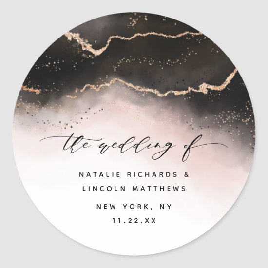 Ethereal Mist Ombre Blush Pink Mood Aurora Wedding Classic Round Sticker