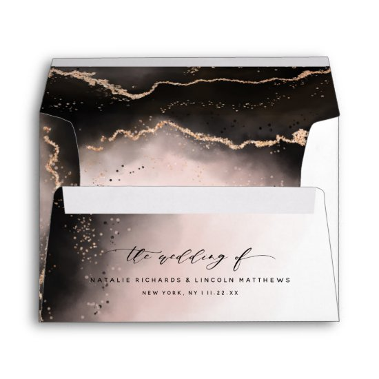 Ethereal Mist Ombre Blush Pink Watercolor Wedding Envelope