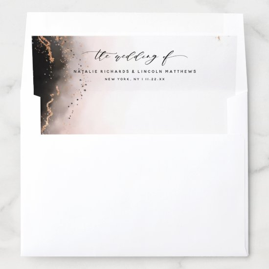 Ethereal Mist Ombre Blush Pink Watercolor Wedding Envelope Liner