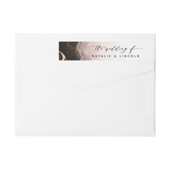 Ethereal Mist Ombre Blush Pink Watercolor Wedding Wrap Around Label