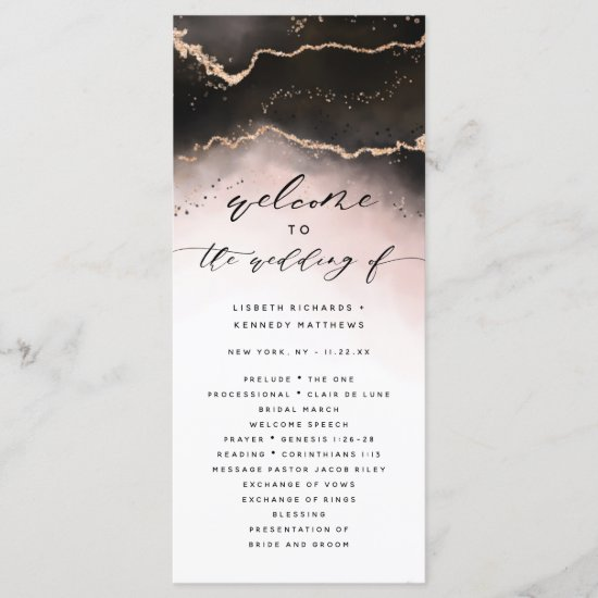 Ethereal Mist Ombre Blush Pink Wedding Ceremony Program