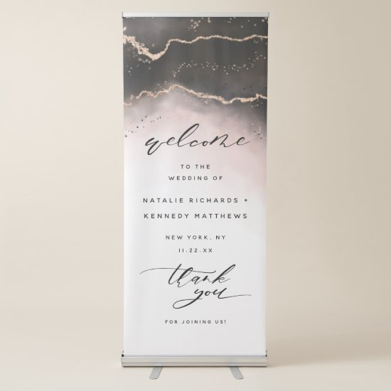 Ethereal Mist Ombre Blush Pink Wedding Welcome Retractable Banner