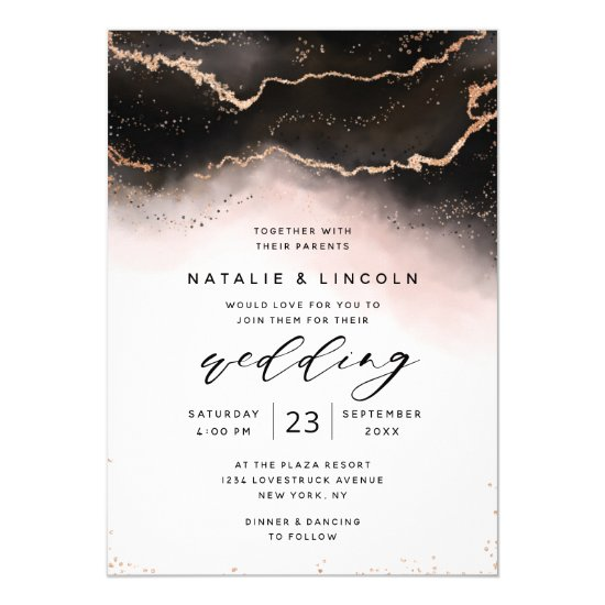 Ethereal Mist Ombre Blush Watercolor Moody Wedding Invitation