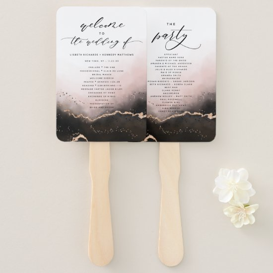 Ethereal Mist Ombre Blush Wedding Ceremony Program Hand Fan