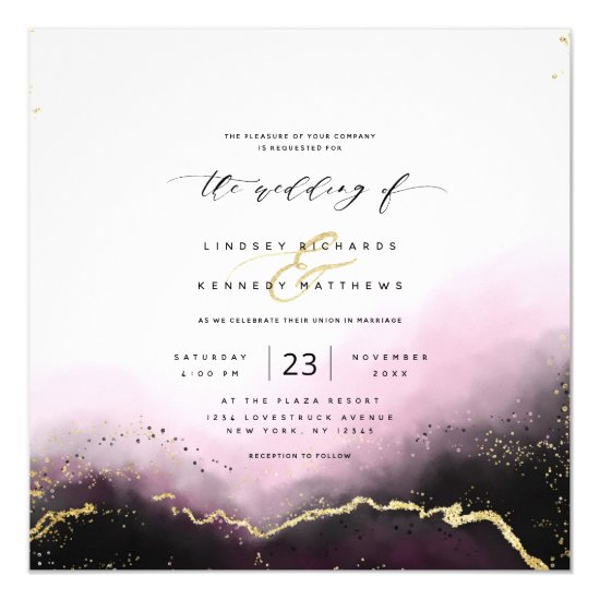 Ethereal Mist Ombre Burgundy Luxury Square Wedding Invitation